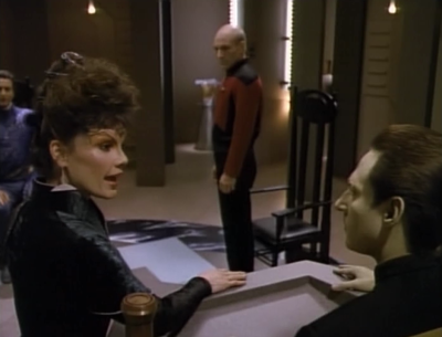 Data gets to be the judge. It doesn't go so well for Picard at first