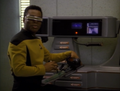 Then Geordi figures out how she's doing it. She has a cloaked ship helping her out