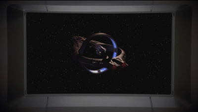 They catch up with the romulan ship, which is trying to look like a vulcan ship at the moment