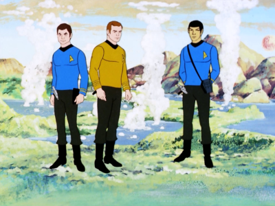 Bones, Kirk, and Spock beam to a planet because some federation people went missing there