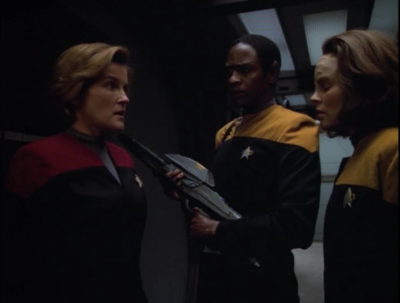 But Janeway decides to test the theory by trying to kill herself