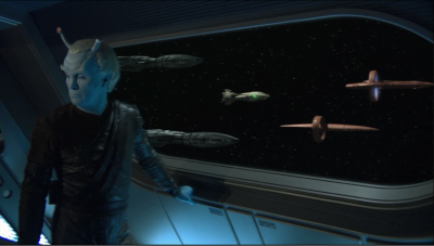 the romulan ship escapes, but an allience fleet is formed