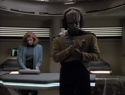 Worf's arm hurts a little!