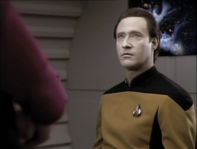 Picard confronts Data because clearly he isn't saying everything he knows, and evidence points to him tampering with stuff. Data says he's ready to face the court martial, but he can't say anything
