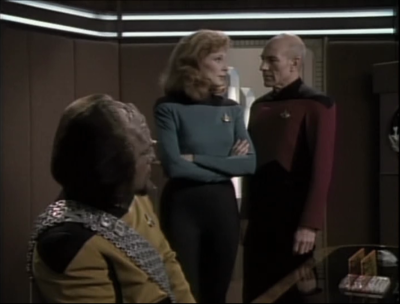 Worf's healed wrist implies that Crusher was awake for the day that they can't remember