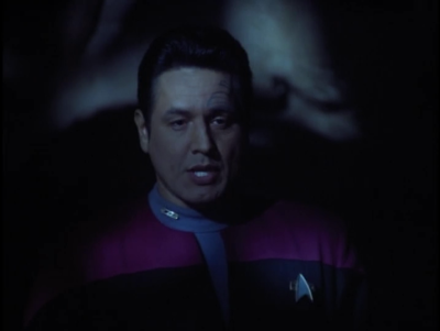 For the climax CHakotay must do battle with being sleepy