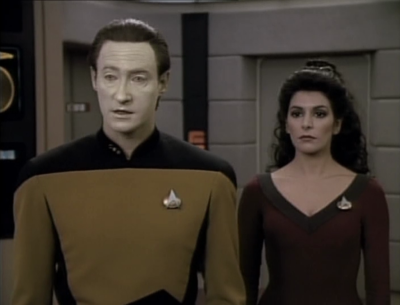 Data and an alien speaking through Troi explain what really happened.