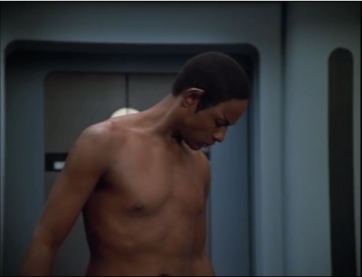 "Everyone on voyager is having bad dreams. I guess they felt like they had to do the ""showing up to work naked"" thing, and Tuvok drew the short straw."