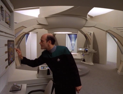 He is sent to a prototype federation ship, the Prometheus