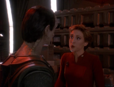 Kira tells Dukat to be more like a terrorist and improvise. They nab one of the weapons from the destroyed outpost that's still intact.
