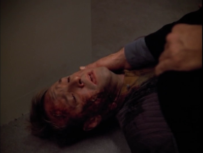 This guy was on the verge of death right up until the Doctor came, and he managed to tell him about the Romulans that took over the ship, and then he died