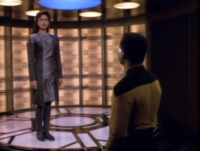 Leah Brahms comes aboard Enterprise, ya know, the lady that Geordi made a hologram of and then fell in love with