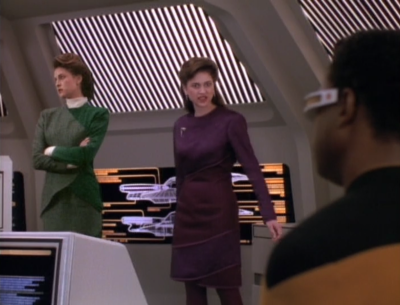 Brahm's discovers Geordi's holodeck program. She's not that cool with it