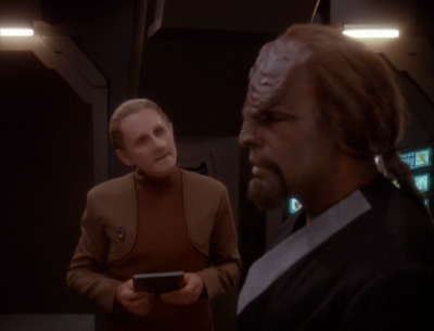 Worf and Odo fight about security some more. I thought they settled this
