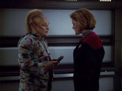 They slowly are able to receive letters from home. Neelix passes them out to the crew as they get em
