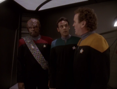 Worf and O'Brien come to blows over the union dispute