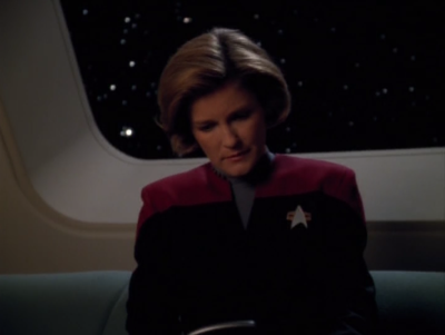 Janeway gets a letter from her fiancee. He moved on and married someone who was a lot less in the delta quadrant