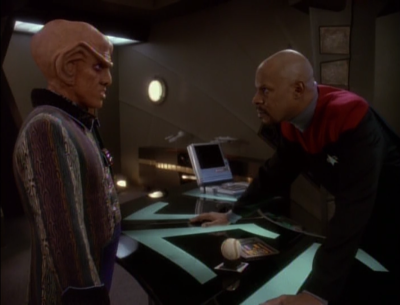 Sisko asks Quark to settle things or else he'll have to pay rent