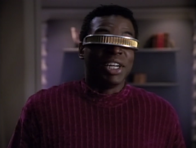 Geordi is a dork and every scene he is in with Leah Brahms is super awkward