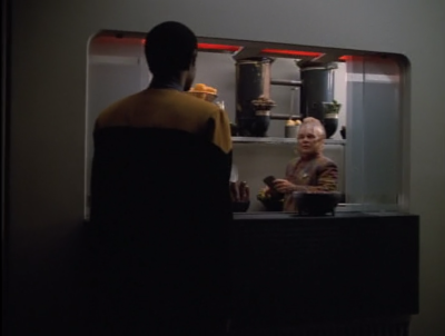 Tuvok tells Neelix that he needs help with security. Wo, this is probably the highest stakes Voyager has ever had. Things have got to be pretty bad if they need Neelix's help. Or maybe they just thought he should be in a scene