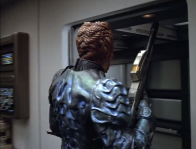 Somehow the Hirogen guy breaks out of the medical bay