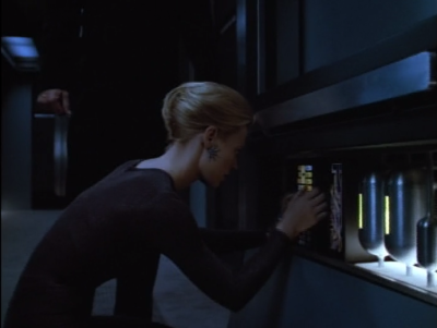 Seven disobeys orders and beams both of them aboard a Hirogen ship