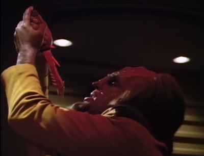 Worf tries to kill himself because he feels fear. Troi stops him though