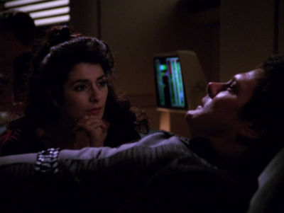 I kept thinking that this guys was just going to slowly start muttering more useful things, but he's never that useful. Troi just figures out that they're having the same dream