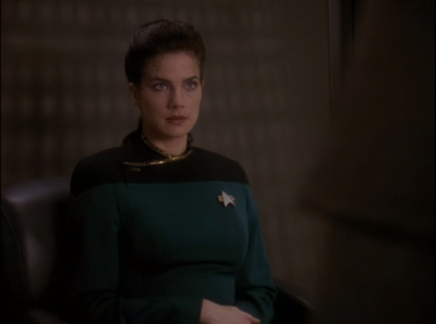 Dax is the first witness. She says Worf plays violent video games