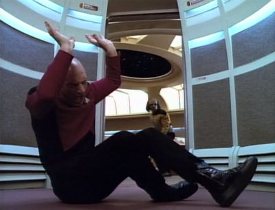 Picard has an incident in the elevator