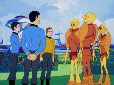 Kirk, Bones and Spock pay a friendly visit to some aliens