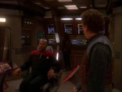 The Defiant is up and running just in time for battle. They let Sisko go, but he wants to stay just for the fun of it