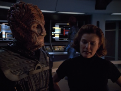 "The Hirogen commander says he's a big fan of holodecks, and he wants to use the technology instead of hunting real prey. Janeways says ""hey yeah, why didn't you just do that with us?"" and he doesn't give a real answer. Janeway, we stopped caring about plot holes back in season 2, just go with it"