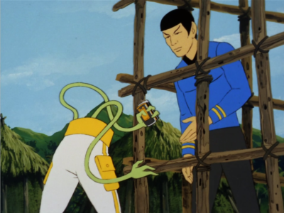 Bem tells Kirk and Spock that they're disappointing and then he just breaks free