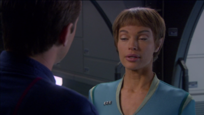 And they also figure out that they're in love. And Trip is gonna stay on Enterprise