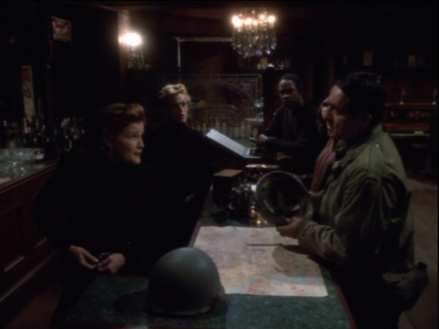 Janeway and Seven convince the others, who still believe they are holodeck characters, to help them retake the ship
