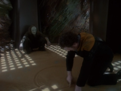 His prison friend taught him how to draw circles. I hope at the end of the episode, instead of him playing a sad flute song like Picard in Inner Light, there's a sad O'Brien drawing circles