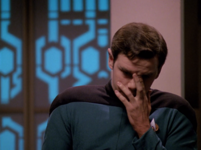 They find out that this guy lied on his starfleet aplication, and that he's really part Romulan!