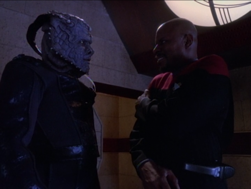 The Jem'Hadar guy doesn't understand why Sisko is such a nice guy and not all super-soldier-ish