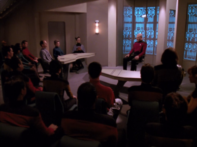 They question Picard, about how he has broken the prime directive 9 times, and let a Romulan spy get away in that other episode