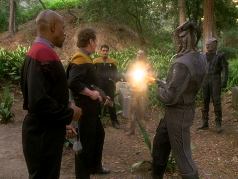 After the mission the Jem'Hadar shoots Weyoun! Then they stick around to kill some more traitors