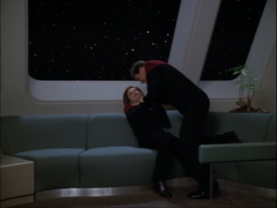 Choking! Tuvok comes to save the day, and takes Paris away
