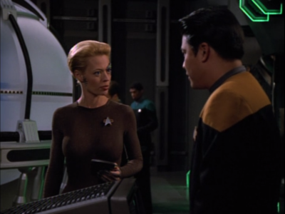 Seven is using her authority in the project to organize things more like the Borg, including designating people with numbers
