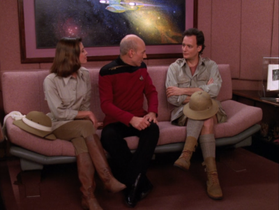 Vash says she wants to travel around with Q to a DS9 episode