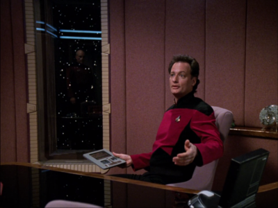 Q shows up too. He says he owes Picard a favor