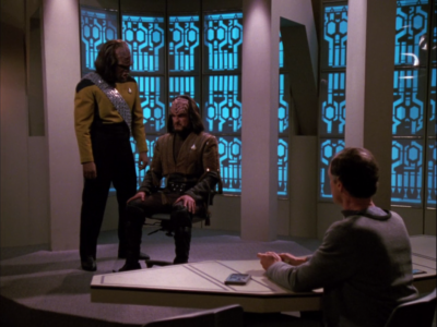 They uncover a Klingon that's collaborating with the Romulans!