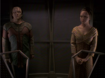For the sub-plot, Garak and Ziyal stand near each other